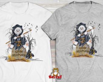 CAT SHIRT - Grim Reapurr- White Ghost Cat Tshirt - Funny Halloween Shirt - Cat Halloween Costume
