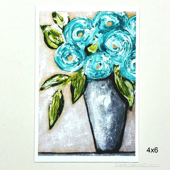 Blue Flowers in Tall Grey Vase, Art Print, Floral Print, Flower Print