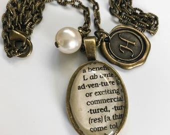 Brass Dictionary Necklace - Wax Seal Initial - Long Chain - Personalized Necklace for Her