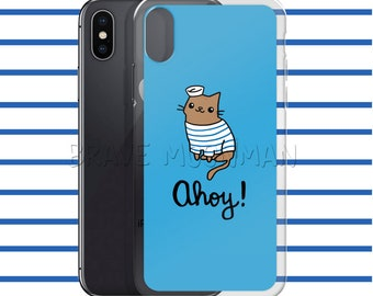 Ahoy Sailor Nautical Phone Case Nautical iPhone Case Cat iPhone Case Kawaii Cat Phone Case Kawaii Kitty Cat iPhone Cover Cat Gifts for Her
