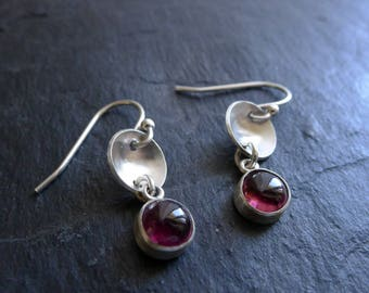 Bowl Dangle Earrings with Red Garnets in Sterling Silver