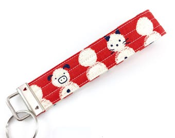 Cats and Pals Snowman Key Fob For Mew Cat Lover Key Chain, Gift For Cat Lover