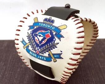 Toronto Blue Jays Baseball Leather Cuff Bracelet Wristband, Deconstructed, Unisex Sports Fan, Adjustable, USA Handmade by Greenbelts, OOAK