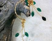 ON SALE Ear Cuff Forest Fairy Emerald Green Vine Wrap Ear Climber Ear Jacket No Piercing Nickel Free Statement Earrings