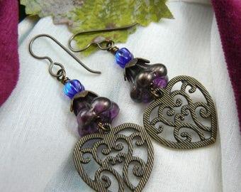 Heart Earrings ~ Dangling Heart Earrings ~ Heart Dangle Earrings ~ Hearts and Flowers Earrings ~ Flower Dangle Earrings ~ Lacy Heart Charms
