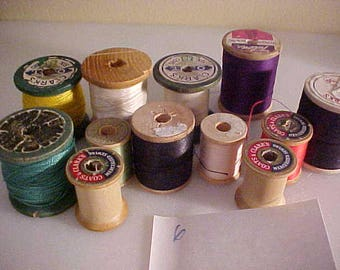 lot of 13 vintage Wooden Sewing Spools #6