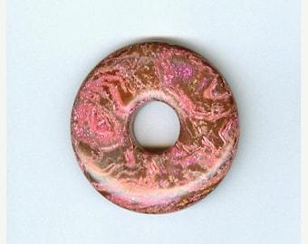 PI DAY SALE Pink Focal Donut, 40mm Pink and Brown Jasper Gemstone Pi Donut Focal Pendant 5139T