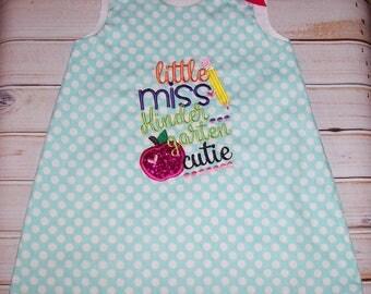 Aqua Polka Dot Little Miss 1st Grader Applique A-line Dress - back to school dress - first grade dress - first day of school dress
