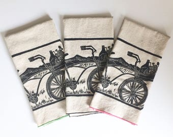 Bicycle and Growler Seattle Handmade Block Printed Tea Towel,  Natural cotton towel, Holiday gift, Road bike and Mountains
