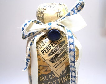Antique Bottle with Victorian sheet music, advertising & button. Unique gift, vase.