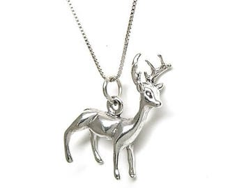 SALE Reindeer Sterling Silver 3D Pendant Charm Customize no. 2097