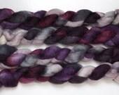 Handpainted Bluefaced Leicester Wool Roving in Black Iris by Blarney Yarn