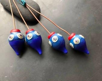 Handmade lampwork glass bead headpin pair by Lori Lochner blue and red lantern charm earring set artisan jewelry design supply