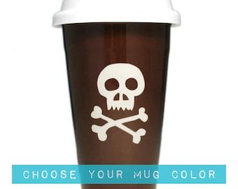Skull & Bones Travel Mug ceramic lidded coffee cup