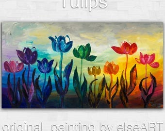Sale Art Original abstract painting Multi color tulip Large Oil painting on gallery wrap canvas Ready to hang by tim Lam 48x24