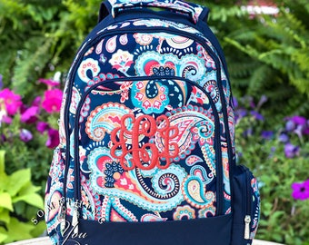 Emerson Paisley Monogrammed Backpack , girls bookbag, first day of school photo, bookbag, navy backpack, paisley print backpack