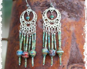 Sterling Chandelier Statement Earrings, Sterling Silver Chandelier Earrings, Gypsy Earrings, Festival earrings, Beaded Fringe Earrings,