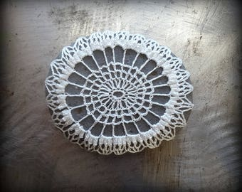 Crocheted Stone, Handmade One of a Kind Unique Decorative Doily Gift, White, Gray, Bohemian, Small, Miniature Art, Collectible, Monicaj