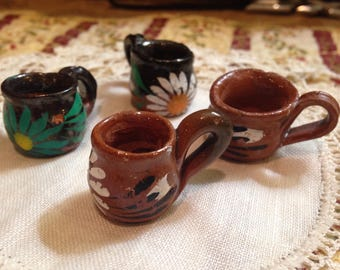 Miniature Hand-Painted Ceramic Cups from Mexico