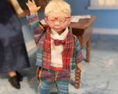 RESERVED FOR Diane One Inch Scale Dollhouse OOAK Artdoll  child   boy with glasses Miniature By Woolytales