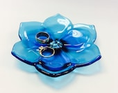 Fused Glass Turqoise Flower Trinket Dish/Ring Dish/Soap Dish