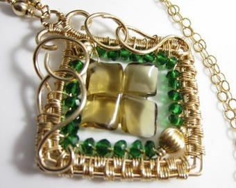SUMMER SALE Luck 'O the Irish Necklace - Carved Whiskey Quartz and Green Quartz in 14k Gold Fill Wrapped Pendant