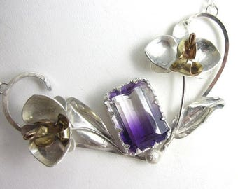 SUMMER SALE Orchid Bloom Necklace - Sterling Silver and Gold Fill Orchids with Bicolor Amethysts