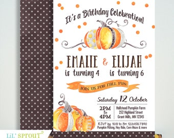 Sibling Fall Birthday Invitation - No Photo - Pumpkin Patch Invite - Halloween Double Birthday - Printable Digital File - PDF JPEG