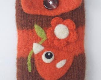 Brown orange wool pouch bag purse cellphone cozy needle felted orange birdie bird and flower