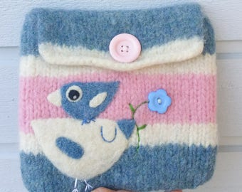 Felted bag pouch purse bag hand knit needle felted pink white blue wool needle felted birdie birds berries
