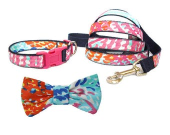 ELECTRIC FEEL Dog Collar and/or Leash on Navy with Bow or Flower Option Made from Lilly Pulitzer Fabric Size: Your Choice