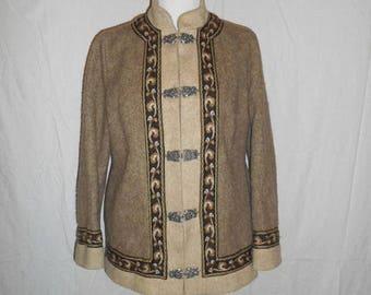 Closing Shop 40%off SALE SALE Vintage FJORD Wool Jacket coat Norway Norwegian  Fair Isle   winter warm  metal clasps   fully lined  size 44