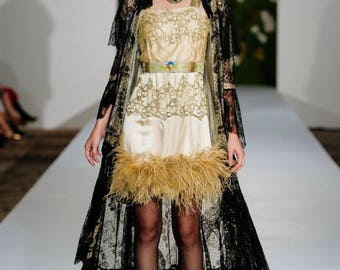 Theda Bara Vibes Edwardian Chantilly Lace Peignoir with sequin tassels as-found Antique