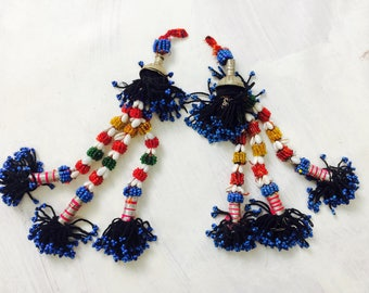 Pair Vintage Kuchi Tribal Beaded Tassels. Bag Tassels, Door Decor, Belly Dance Costumes 11