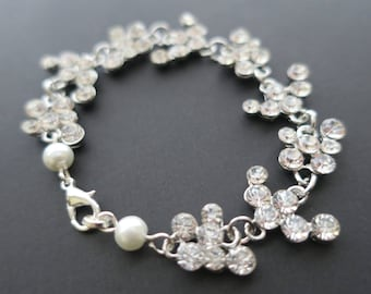 Cubic Zirconia Bridal Bracelet Grecian Wedding Jewelry Pearl and Crystal Art Deco Statement Clear White Rhinestone Boho Leaf Roman Style