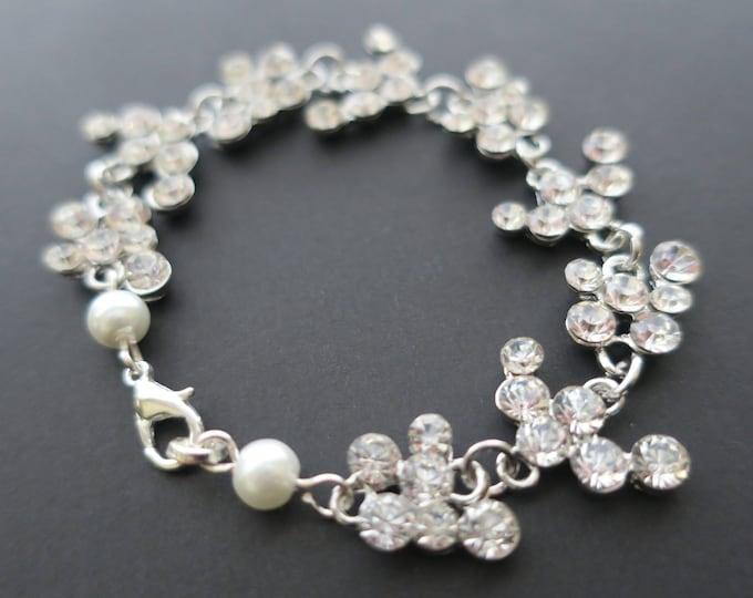 Cubic Zirconia Bridal Bracelet Grecian Wedding Jewelry Pearl and Crystal Art Deco Statement Clear White Rhinestone Boho Leaf Roman Style