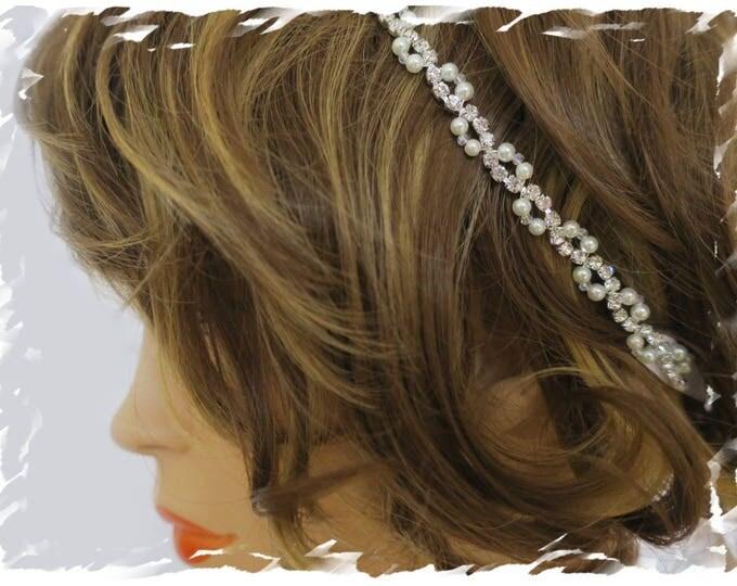 Art Deco Inspired Pearl Crystal Beaded Bridal Headband