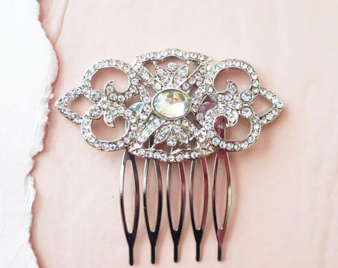 Art Deco Bridal Hair Comb AMELIA Wedding Crystal Headpiece