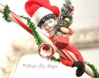 Candy Cane Kid Spun Cotton Doll Christmas Ornament Decoration China Head Vintage Inspired Art Doll Lorelie Kay Designs Original
