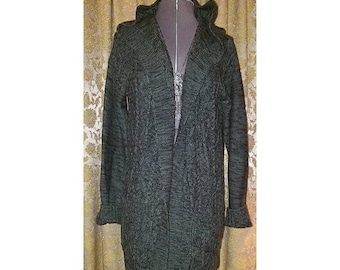 30% OFF Ladies Sage Green Hooded Sweater Top Cardigan, Small