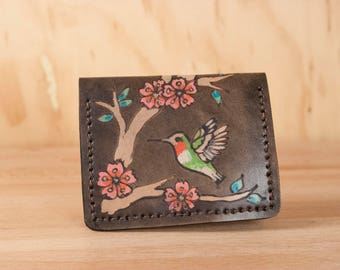 Simple Wallet - Womens or Mens Small Front Pocket Wallet with Hummingbirds and Cherry Blossoms - May Pattern in Antique Black and Pink