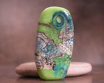 Glass Focal Bead Lampwork Glass Lime Green and Aqua Blues Divine Spark Designs SRA