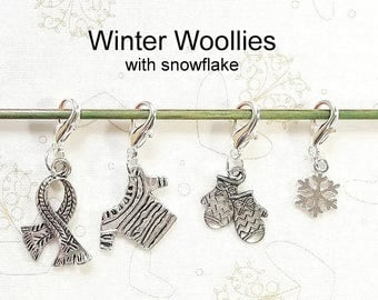 Progress Keepers, Removable Knitting Stitch Markers, Crochet Markers, Zipper Pull Charms - Set of 4 - Winter Woollies with snowflake