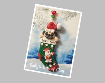 READY to SHIP! Fawn Pug dog in Christmas Stocking Ornament by Sally's Bits of Clay Personalized with dog's name