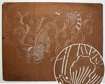 """Vintage Japanese Katagami Stencil Persimmon Paper """"Hidden Butterfly"""""""