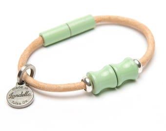 SALE: Mint Green Light Natural Leather Magnetic Landella Two Bead Bracelet