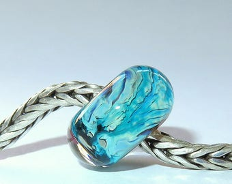 Luccicare Lampwork Bead - Nebula VII -  Lined with Sterling Silver