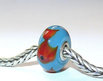 Luccicare Lampwork Bead - Fish on Aqua -  Lined with Sterling Silver