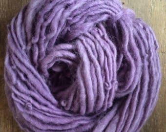 Logwood dyed, handspun naturally dyed local wool and mohair yarn, 40 yards single ply bulky weight, purple handspun yarn