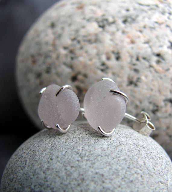 Tiny Ocean sea glass stud earrings in soft lavender